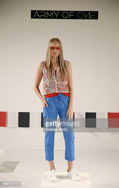 A model poses during the Army of 1 presentation during Dubai Fashion Forward Spring/Summer 2016 at Madinat Jumeirah on October 22 2015 in Dubai...