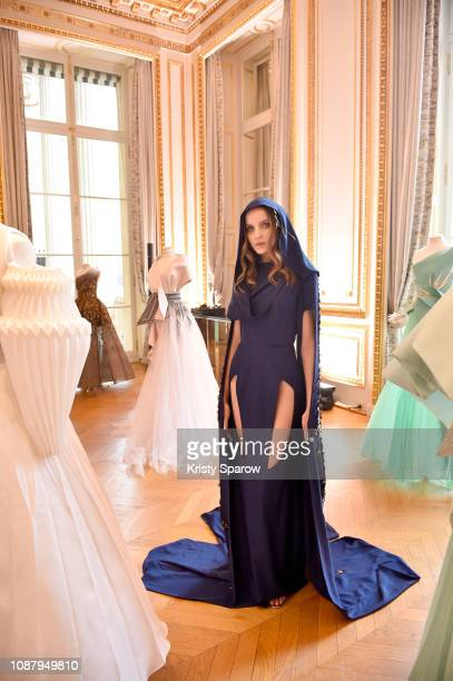 Model poses during the Azzi & Osta Spring Summer 2019 Presentation as part of Paris Fashion Week on January 24, 2019 in Paris, France.