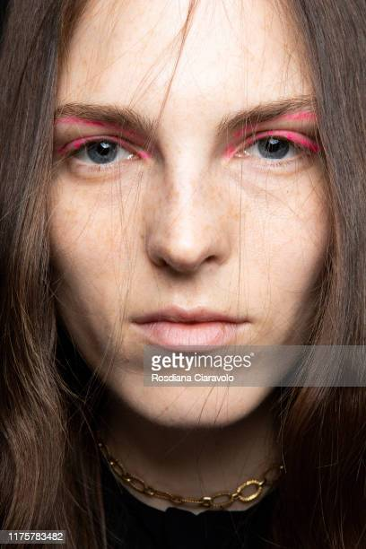 Model poses during the backstage for Peter Pilotto fashion show during the Milan Fashion Week Spring/Summer 2020 on September 18, 2019 in Milan,...