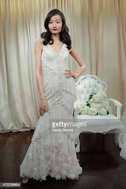 A model poses during the Badgley Mischka Bridal Spring/Summer 2016 presentation at Badgley Mischka Showroom on April 18 2015 in New York City