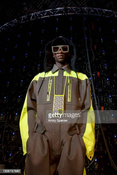 Model poses during the Balmain Photo Shoot as part of the Paris Fashion Week Womenswear Fall/Winter 2021/2022 on March 05, 2021 in Paris, France.
