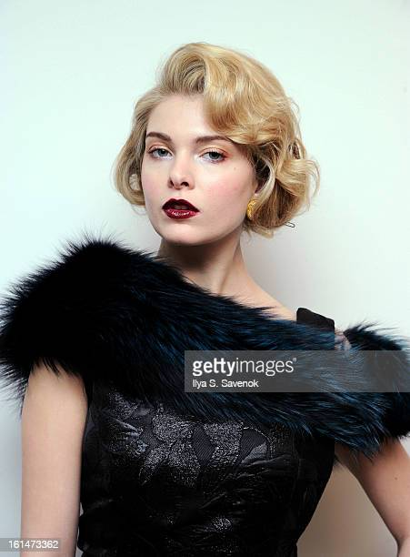 A model poses during the Barbara TFank 2013 presentation during MercedesBenz Fashion Week on February 11 2013 in New York City