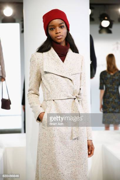 A model poses during the Brooks Brothers FW 2017 Presentation with Zac Posen at The Glasshouses on February 15 2017 in New York City