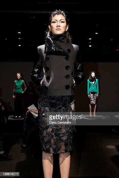 A model poses during the Catherine Malandrino fall 2012 presentation during MercedesBenz Fashion Week at Eyebeam 540 West 21st Street on February 12...