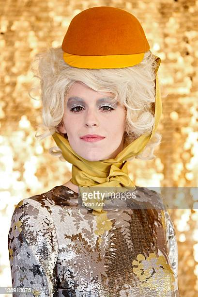 A model poses during the Chris Benz fall 2012 presentation during MercedesBenz Fashion Week at Avery Fisher Hall Grand Promenade on February 13 2012...