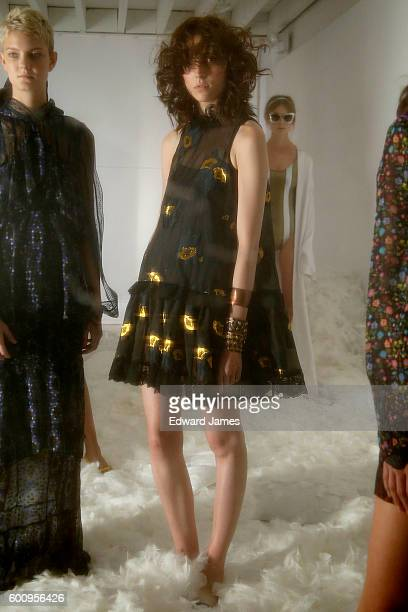 A model poses during the Cynthia Rowley presentation on September 8 2016 in New York City