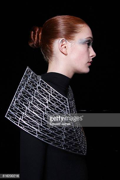 A model poses during the Daniel Christian Tang fashion presentation at David Pecaut Square on March 17 2016 in Toronto Canada