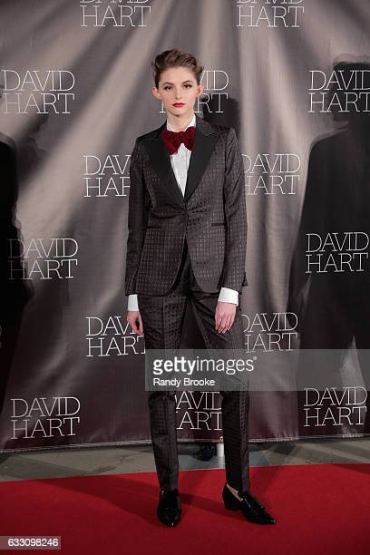 A model poses during the David Hart NYFW Men's fashion presentation on January 30 2017 in New York City