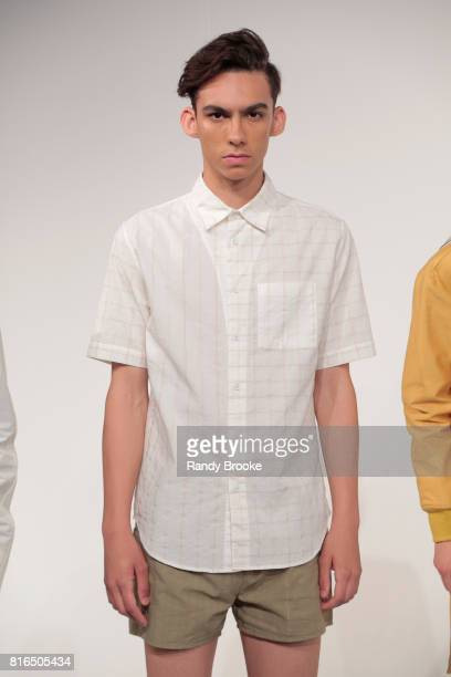 A model poses during the DDUGOFF Presentation NYFW Men's at Jacob Javitz Center on July 17 2017 in New York City