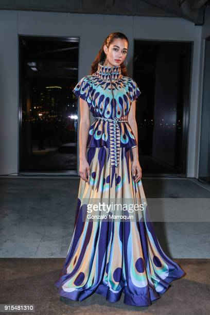 A model poses during the Epson's F/W 18 Digital Couture Panel and Presentation on February 6 2018 in New York City