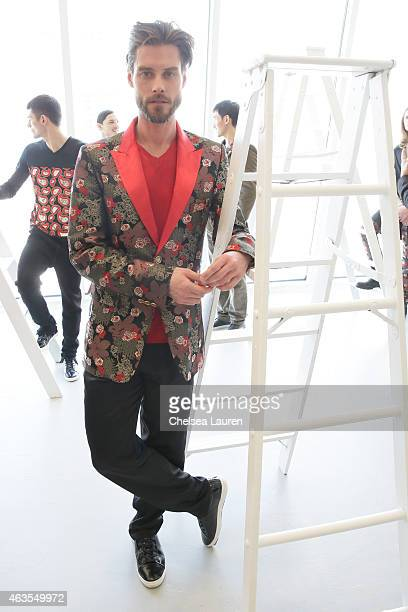 A model poses during the Franco Lacosta presentation on February 15 2015 in New York City