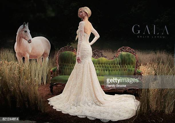 A model poses during the Galia Lahav Bridal Fashion Week Spring/Summer 2017 presentation on April 14 2016 in New York City