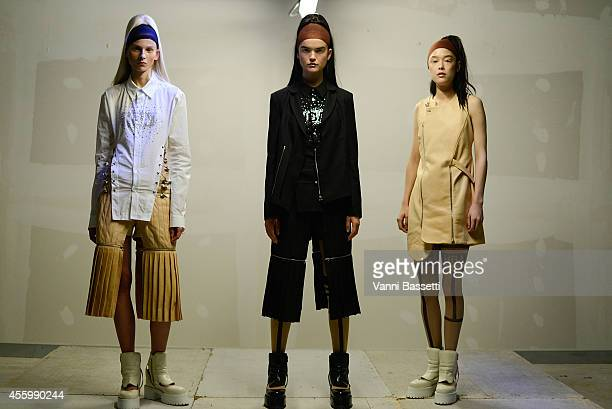 A model poses during the Hood By Air presentation as part of the Paris Fashion Week Womenswear Spring/Summer 2015 on September 23 2014 in Paris France