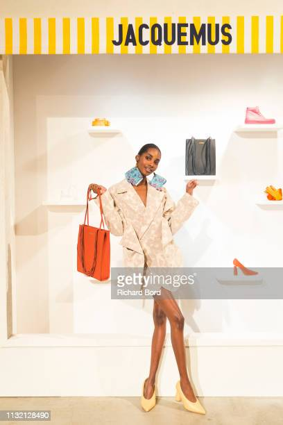 A model poses during the Jacquemus show as part of the Paris Fashion Week Womenswear Fall/Winter 2019/2020 on February 25 2019 in Paris France