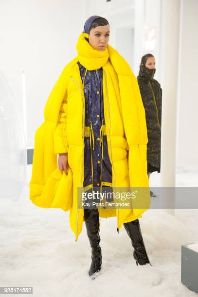 A model poses during the Jarel Zhang Presentation as part of the Paris Fashion Week Womenswear Fall/Winter 2018/2019 on February 28 2018 in Paris...