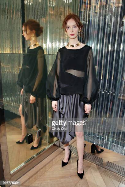 A model poses during the Jasmine Chong x GBGH Fall 2018 New York Fashion Week Presentation at Baccarat Hotel on February 10 2018 in New York City