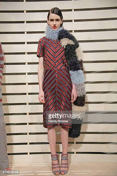 Model poses during the J.Crew presentation during Mercedes-Benz Fashion Week Fall 2014 at The Pavilion at Lincoln Center on February 11, 2014 in New...