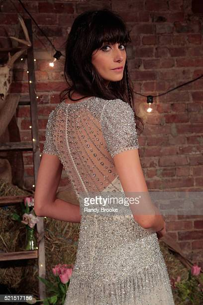 A model poses during the Jenny Packham Bridal Spring/Summer 2017 Presentation at Jenny Packham Showroom on April 15 2016 in New York City