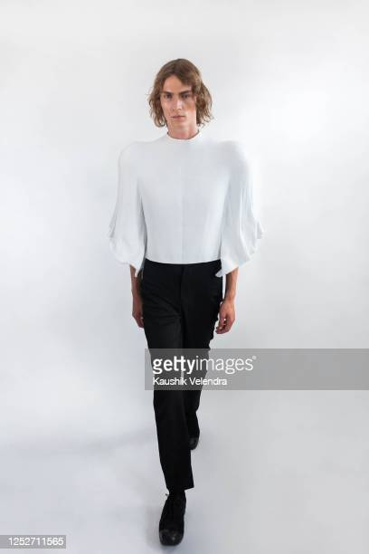 A model poses during the Kaushik Velendra #LFWRest presentation during London Fashion Week on June 10 2020 in London England [Photo by Alexander...