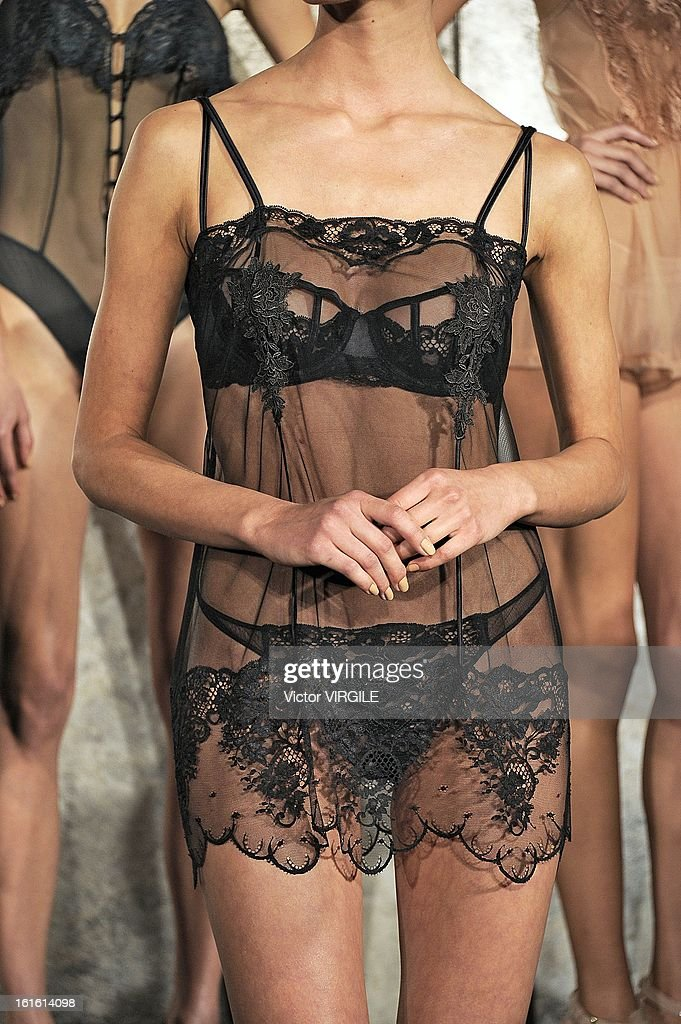 A model (Detail) poses during the La Perla fall 2013 presentation during Mercedes-Benz Fashion Week at The Gallery at The Dream Downtown Hotel on February 7, 2013 in New York City.
