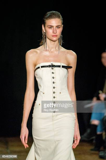 A model poses during the Linder presentation at New York Fashion Week on February 10 2017 in New York City