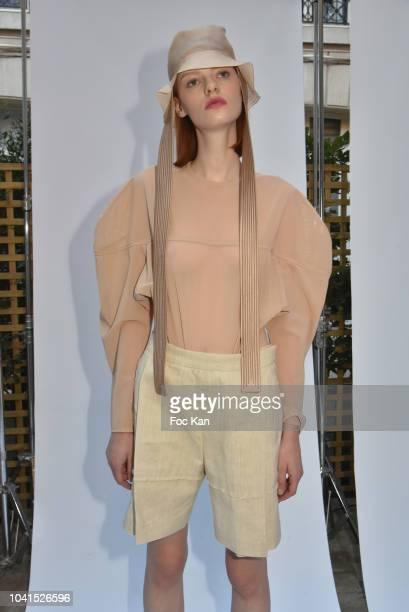 Model poses during the Litkovskaya show as part of Paris Fashion Week Womenswear Spring/Summer 2019 on September 26, 2018 in Paris, France.