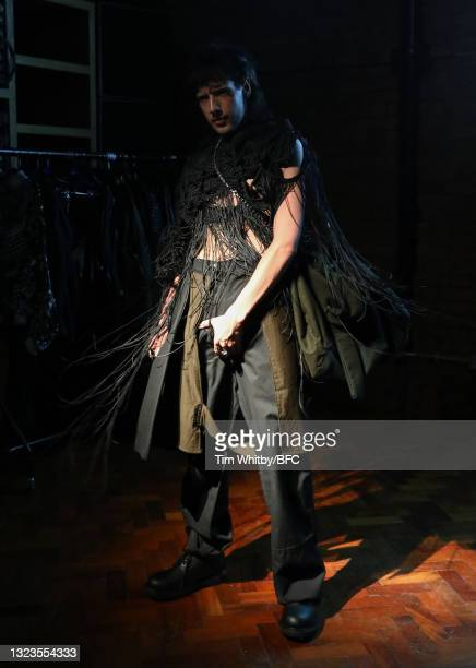 Model poses during The London Seven Collective, LCF Graduate Screening during London Fashion Week June 2021 on June 14, 2021 in London, England.