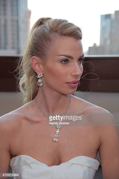 Model poses during the Malan Breton Bridal Spring/Summer 2016 Presentation at The Empire Hotel Rooftop on April 18 2015 in New York City