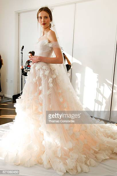 Model poses during the Marchesa Bridal Spring/Summer 2017 Presentation at Canoe Studios on April 13, 2016 in New York City.