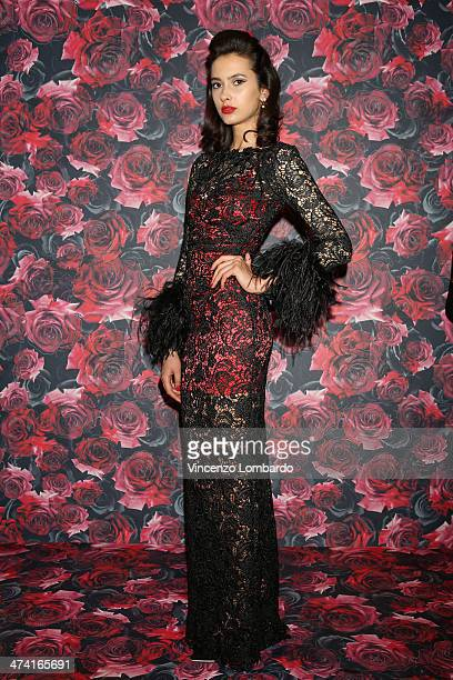 Model poses during the Maria Grazia Severi presentation as part of Milan Fashion Week Womenswear Autumn/Winter 2014 on February 22, 2014 in Milan,...