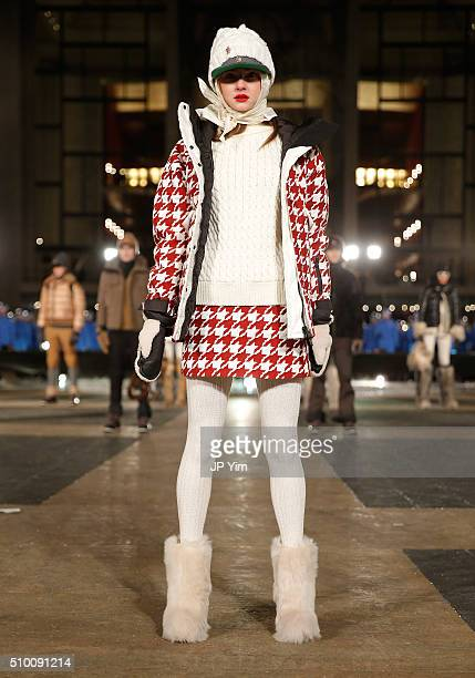 A model poses during the Moncler Grenoble FW 1617 presentation during New York Fashion Week at Lincoln Center on February 13 2016 in New York City