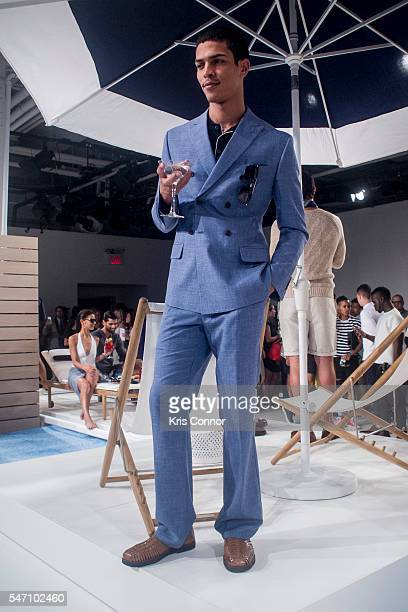 Model poses during the Nautica Presentation at Skylight Clarkson Sq on July 13, 2016 in New York City.