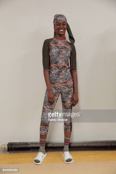 Model poses during the Nevermore presentation September 2017 at New York Fashion Week on September 6, 2017 in New York City.