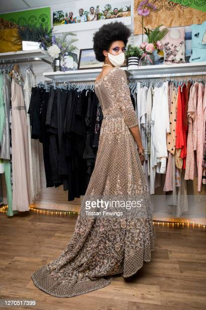 Model poses during the Oxfam Sustainable Fashion Show at Oxfam Shop on September 03, 2020 in London, England.
