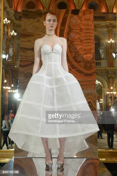 A model poses during the Paule Ka Presentation as part of the Paris Fashion Week Womenswear Fall/Winter 2017/2018 at Hotel Intercontinental on...