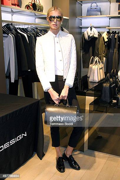 A model poses during the Porsche Design Spring 2016 private preview held at Porsche Design Beverly Hills on November 18 2015 in Beverly Hills...
