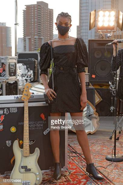 Model poses during the Rebecca Minkoff Fall 2020 Presentation at Spring Studios Terrace on September 15, 2020 in New York City.