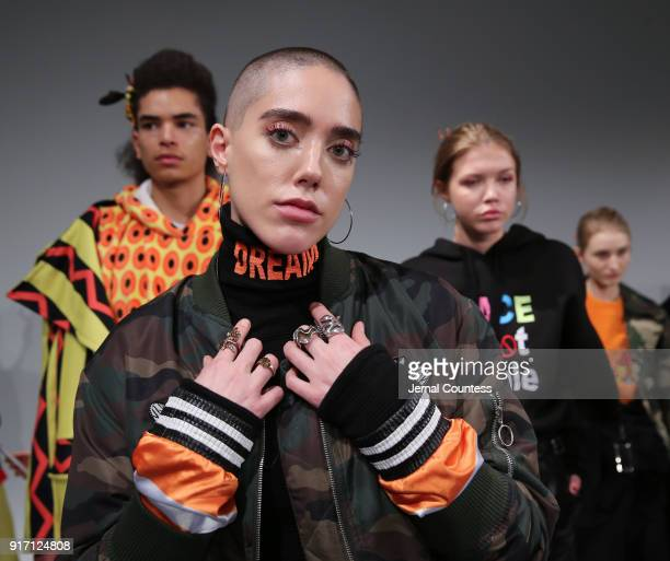 A model poses during the Ricardo Seco Presentation during New York Fashion Week at Pier 59 on February 11 2018 in New York City