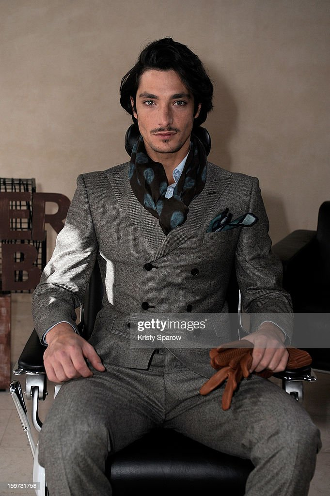 A model poses during the Smalto Menswear Autumn / Winter 2013 show as part of Paris Fashion Week on January 19, 2013 in Paris, France.