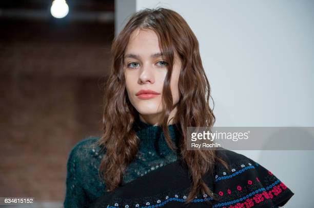 A model poses during the Tanya Taylor Presentation at New York Fashion Week on February 10 2017 in New York City
