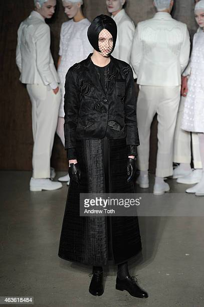 A model poses during the Thom Browne Women's fashion show during MercedesBenz Fashion Week Fall 2015 at Center 548 on February 16 2015 in New York...