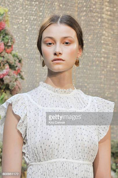 A model poses during the Ulla Johnson presentation at Skylight at Industria Superstudio on September 8 2016 in New York City
