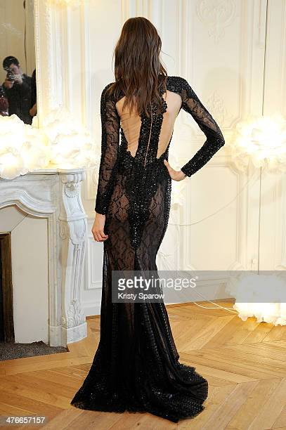A model poses during the Zuhair Murad presentation as part of Paris Fashion Week Womenswear Fall/Winter 20142015 on March 4 2014 in Paris France