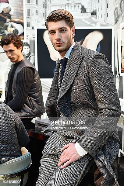 Model poses during Tod's presentation as part of Milan Men's Fashion Week FW16 on January 17, 2016 in Milan, Italy.
