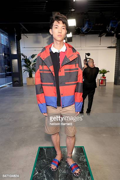 A model poses during Tommy Hilfiger Spring 2017 Men's Tailored Collection Presentation at Skylight at 60 10th Avenue on July 6 2016 in New York City