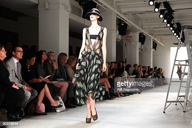 A model poses during Vena Cava presentation of spring 2010 fashions at the Milk Studios during MercedesBenz Fashion Week at Bryant Park on September...
