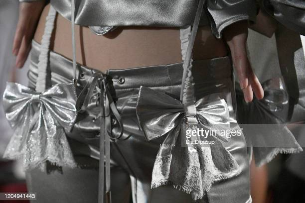 A model poses fashion detail for Wiederhoeft Fall / Winter 2020 New York Fashion Week Presentation The Music Box at Sunken Living Room at Spring...