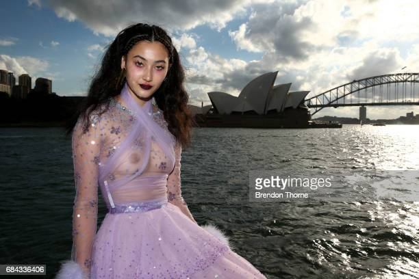 A model poses following the Dyspnea show at MercedesBenz Fashion Week Resort 18 Collections on May 18 2017 in Sydney Australia