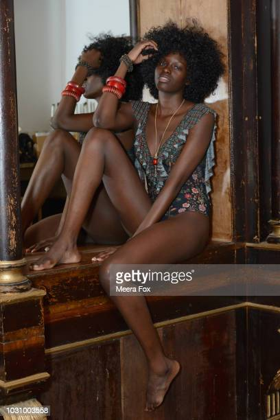 A model poses for a photo backstage during New York Fashion Week Powered By Art Hearts Fashion at The Angel Orensanz Foundation on September 10 2018...