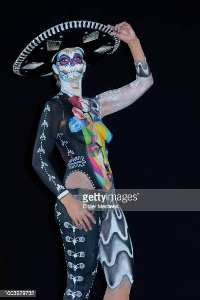 A model poses for a picture at the 21st World Bodypainting Festival 2018 on July 12 2018 in Klagenfurt Austria